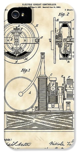 Tesla Electric Circuit Controller Patent 1897 - Vintage IPhone 5 / 5s Case by Stephen Younts