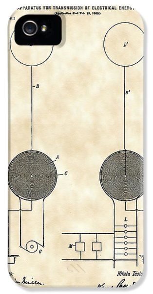 Conducting iPhone 5 Cases - Tesla Electric Transmission Patent 1900 - Vintage iPhone 5 Case by Stephen Younts