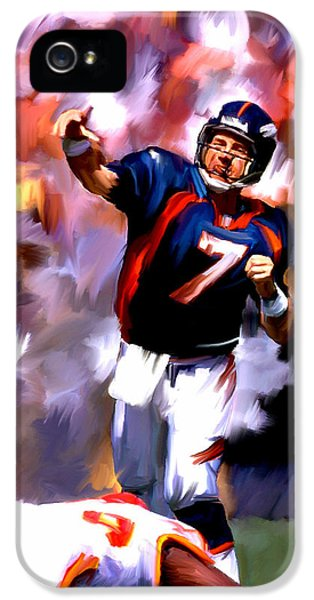 Main Street iPhone 5 Cases - The Gun III John Elway iPhone 5 Case by Iconic Images Art Gallery David Pucciarelli