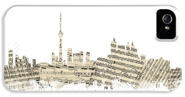 Toronto iPhone 5 Cases - Toronto Canada Skyline Sheet Music Cityscape iPhone 5 Case by Michael Tompsett