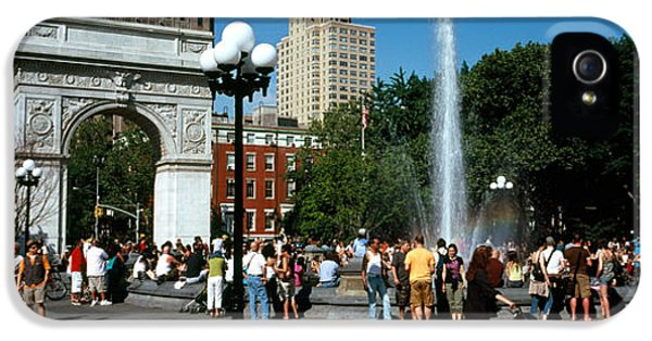 Build iPhone 5 Cases - Tourists At A Park, Washington Square iPhone 5 Case by Panoramic Images