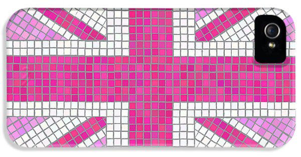 Background iPhone 5 Cases - Union Jack pink iPhone 5 Case by Jane Rix