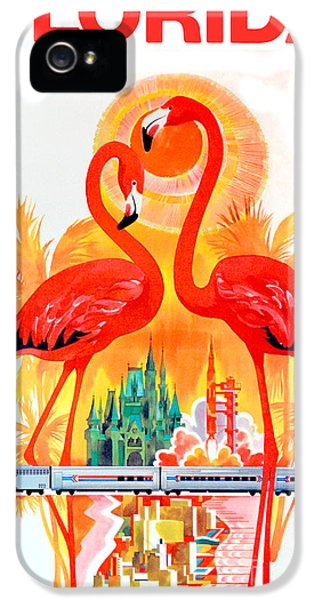 Flamingo iPhone 5 Cases - Vintage Florida Travel Poster iPhone 5 Case by Jon Neidert