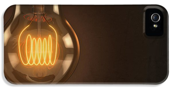 Light Bulb iPhone 5 Cases - Close Up Vintage Hanging Light Bulb iPhone 5 Case by Scott Norris