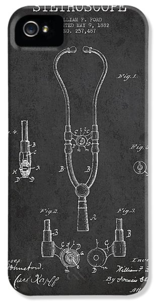 Hospital iPhone 5 Cases - Vintage Stethoscope Patent Drawing From 1882 - Dark iPhone 5 Case by Aged Pixel