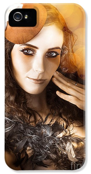 Vintage Style Actress Performing In French Beret IPhone 5 / 5s Case by Jorgo Photography - Wall Art Gallery