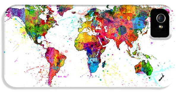 Atlas iPhone 5 Cases - Watercolor Political Map of the World iPhone 5 Case by Michael Tompsett