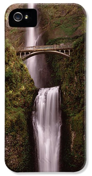 Connection iPhone 5 Cases - Waterfall In A Forest, Multnomah Falls iPhone 5 Case by Panoramic Images