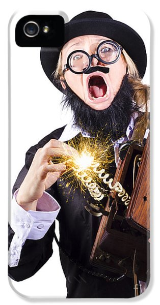 Sparking iPhone 5 Cases - Woman shocked by antique phone iPhone 5 Case by Ryan Jorgensen