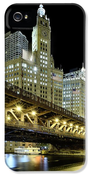 Clock iPhone 5 Cases - Wrigley Building At Night iPhone 5 Case by Sebastian Musial