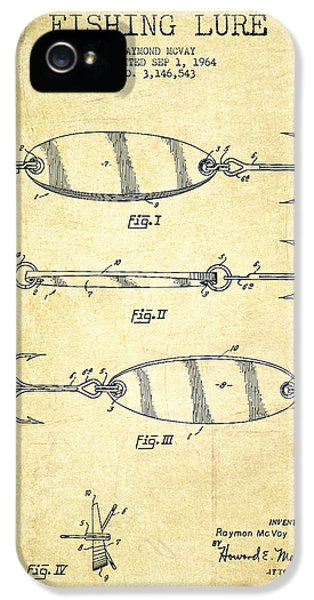 Fishing iPhone 5 Cases - Vintage Fishing Lure Patent Drawing from 1964 iPhone 5 Case by Aged Pixel