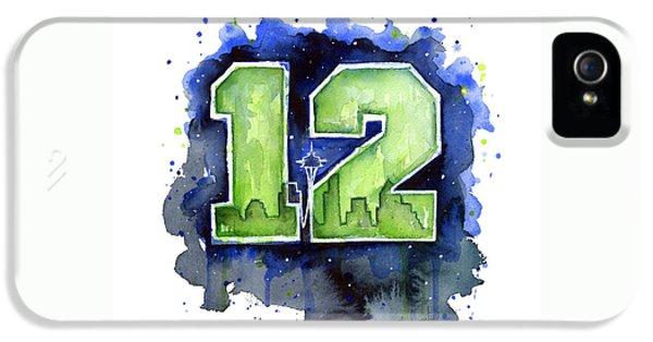12th Man Seahawks Art Seattle Go Hawks IPhone 5 / 5s Case by Olga Shvartsur