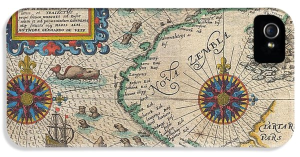 Arctic Rose iPhone 5 Cases - 1601 De Bry and de Veer Map of Nova Zembla and the Northeast Passage iPhone 5 Case by Paul Fearn