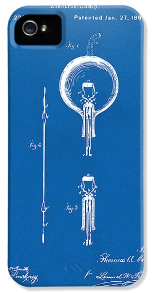 Electric Lamp (electric Light) iPhone 5 Cases - 1880 Edison Electric Lamp Patent Artwork Blueprint iPhone 5 Case by Nikki Marie Smith