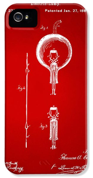Electric Lamp (electric Light) iPhone 5 Cases - 1880 Edison Electric Lamp Patent Artwork Red iPhone 5 Case by Nikki Marie Smith