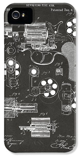 Guns iPhone 5 Cases - 1881 Colt Revolving Fire Arm Patent Artwork - Gray iPhone 5 Case by Nikki Marie Smith