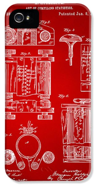 Data iPhone 5 Cases - 1889 First Computer Patent Red iPhone 5 Case by Nikki Marie Smith