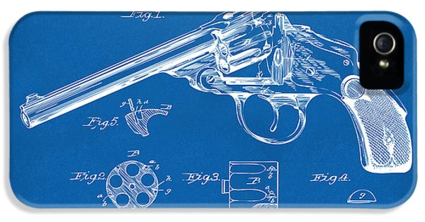 X-ray iPhone 5 Cases - 1889 Wesson Revolver Patent Minimal - Blueprint iPhone 5 Case by Nikki Marie Smith
