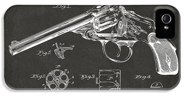 X-ray iPhone 5 Cases - 1889 Wesson Revolver Patent Minimal - Gray iPhone 5 Case by Nikki Marie Smith