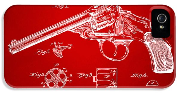 X-ray iPhone 5 Cases - 1889 Wesson Revolver Patent Minimal - Red iPhone 5 Case by Nikki Marie Smith