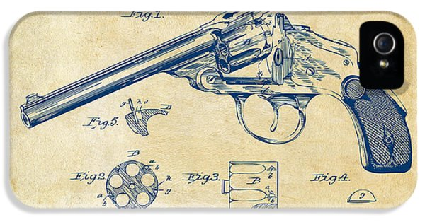 X-ray iPhone 5 Cases - 1889 Wesson Revolver Patent Minimal - Vintage iPhone 5 Case by Nikki Marie Smith