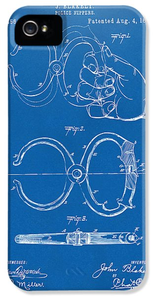 Security iPhone 5 Cases - 1891 Police Nippers Handcuffs Patent Artwork - Blueprint iPhone 5 Case by Nikki Marie Smith