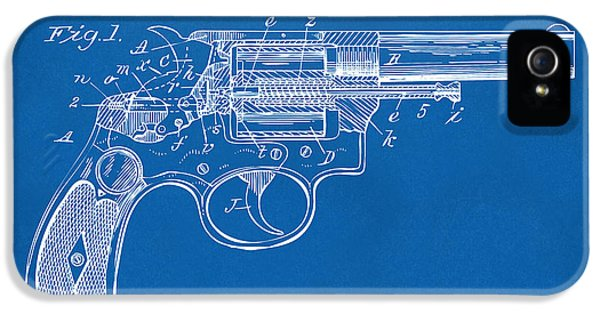 X-ray iPhone 5 Cases - 1896 Wesson Safety Device Revolver Patent Minimal - Blueprint iPhone 5 Case by Nikki Marie Smith