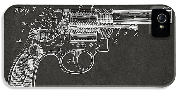 X-ray iPhone 5 Cases - 1896 Wesson Safety Device Revolver Patent Minimal - Gray iPhone 5 Case by Nikki Marie Smith