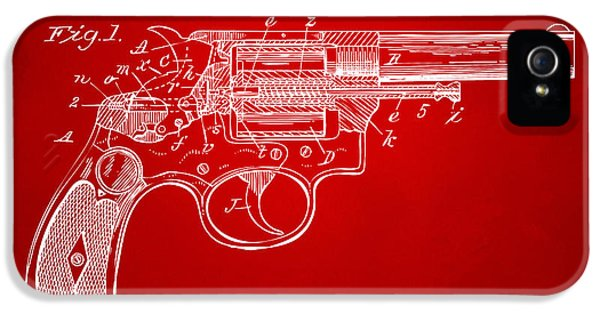 X-ray iPhone 5 Cases - 1896 Wesson Safety Device Revolver Patent Minimal - Red iPhone 5 Case by Nikki Marie Smith