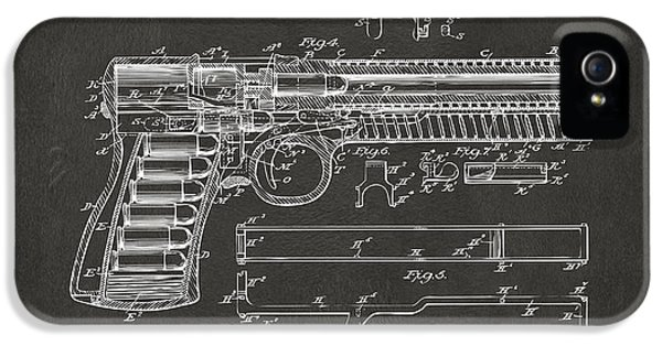 Guns iPhone 5 Cases - 1903 McClean Pistol Patent Artwork - Gray iPhone 5 Case by Nikki Marie Smith