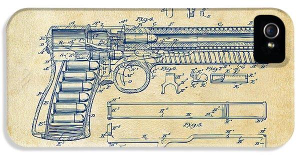 Guns iPhone 5 Cases - 1903 McClean Pistol Patent Artwork - Vintage iPhone 5 Case by Nikki Marie Smith