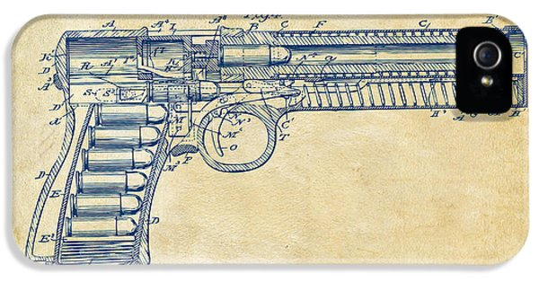 Guns iPhone 5 Cases - 1903 McClean Pistol Patent Minimal - Vintage iPhone 5 Case by Nikki Marie Smith