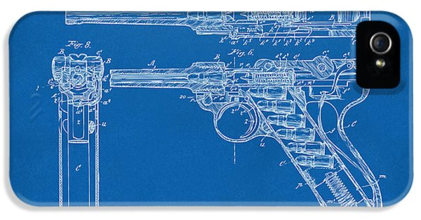 X-ray iPhone 5 Cases - 1904 Luger Recoil Loading Small Arms Patent - Blueprint iPhone 5 Case by Nikki Marie Smith