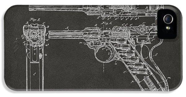 X-ray iPhone 5 Cases - 1904 Luger Recoil Loading Small Arms Patent - Gray iPhone 5 Case by Nikki Marie Smith