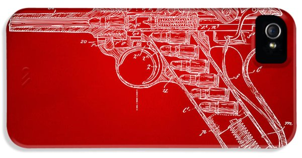 X-ray iPhone 5 Cases - 1904 Luger Recoil Loading Small Arms Patent Minimal - Red iPhone 5 Case by Nikki Marie Smith