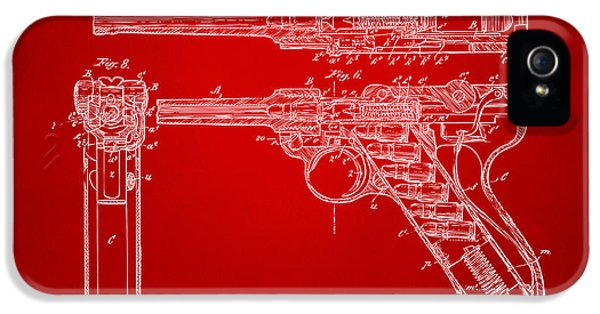 X-ray iPhone 5 Cases - 1904 Luger Recoil Loading Small Arms Patent - Red iPhone 5 Case by Nikki Marie Smith