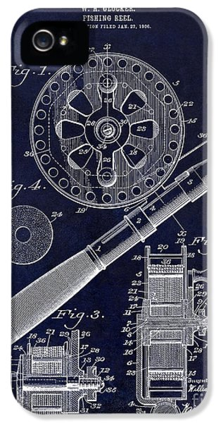 Net iPhone 5 Cases - 1906 Fishing Reel Patent Drawing Blue iPhone 5 Case by Jon Neidert