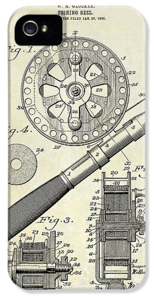 1906 Fishing Reel Patent Drawing IPhone 5 / 5s Case by Jon Neidert