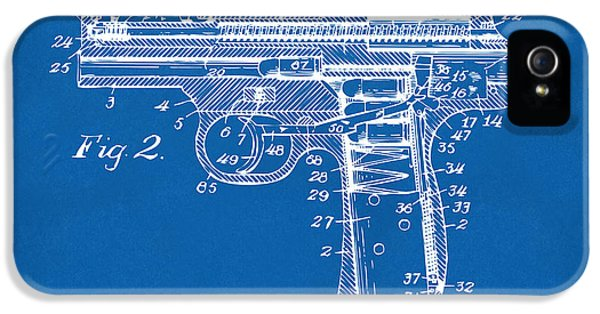X-ray iPhone 5 Cases - 1911 Automatic Firearm Patent Minimal - Blueprint iPhone 5 Case by Nikki Marie Smith