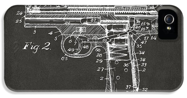 X-ray iPhone 5 Cases - 1911 Automatic Firearm Patent Minimal - Gray iPhone 5 Case by Nikki Marie Smith