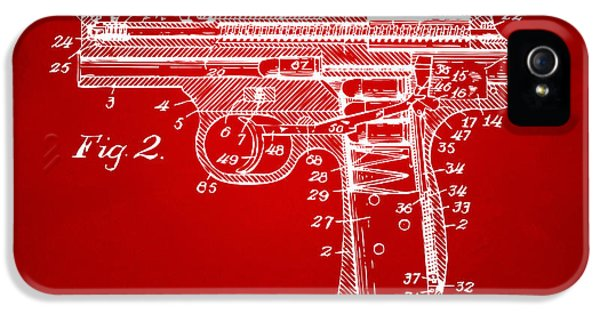 X-ray iPhone 5 Cases - 1911 Automatic Firearm Patent Minimal - Red iPhone 5 Case by Nikki Marie Smith