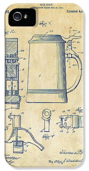 1914 Beer Stein Patent Artwork - Vintage IPhone 5 / 5s Case by Nikki Marie Smith