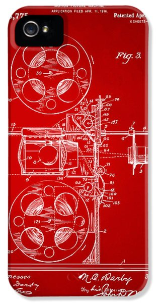 Motion Picture iPhone 5 Cases - 1920 Motion Picture Machine Patent Red iPhone 5 Case by Nikki Marie Smith