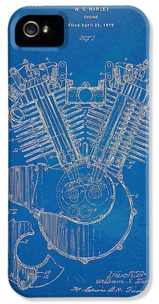Blueprint iPhone 5 Cases - 1923 Harley Davidson Engine Patent Artwork - Blueprint iPhone 5 Case by Nikki Smith