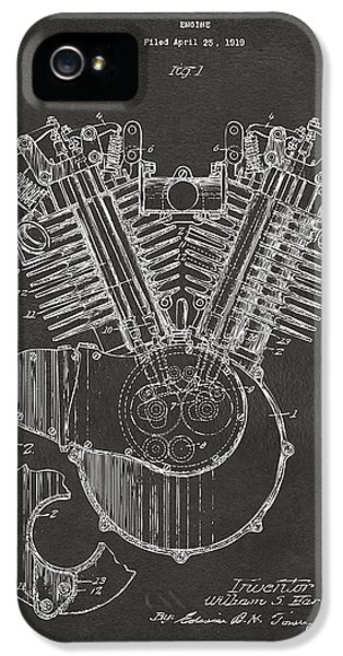 1923 Harley Engine Patent Art - Gray IPhone 5 / 5s Case by Nikki Marie Smith