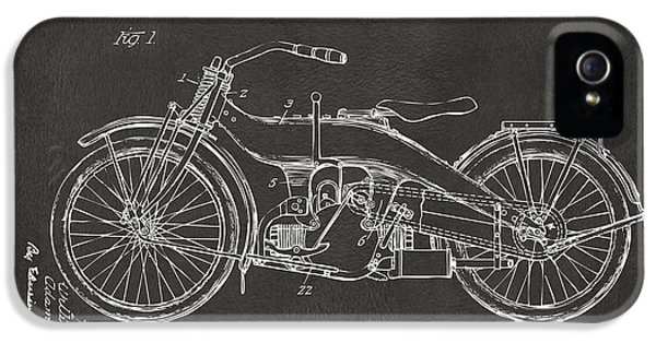 Blueprint iPhone 5 Cases - 1924 Harley Motorcycle Patent Artwork - Gray iPhone 5 Case by Nikki Marie Smith