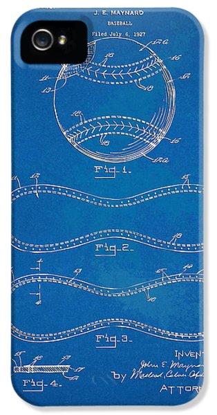 1928 Baseball Patent Artwork - Blueprint IPhone 5 / 5s Case by Nikki Smith