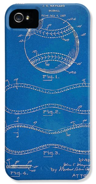Blueprint iPhone 5 Cases - 1928 Baseball Patent Artwork - Blueprint iPhone 5 Case by Nikki Smith