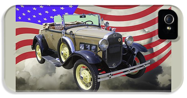 1931 Roadster iPhone 5 Cases - 1931 Ford Model A Cabriolet And American Flag. iPhone 5 Case by Keith Webber Jr