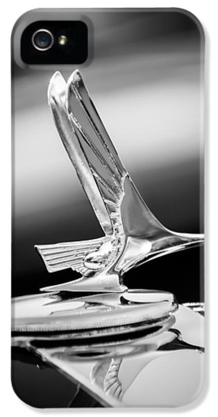 1931 Roadster iPhone 5 Cases - 1931 Studebaker President Four Seasons Roadster Hood Ornament -1066bw iPhone 5 Case by Jill Reger